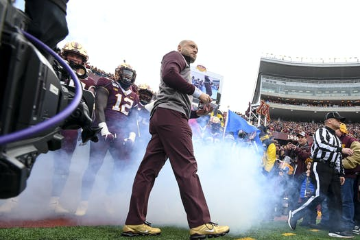 Gophers coach P.J. Fleck gathered the team before the Penn State game last November.