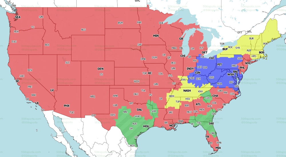 NFL on CBS Week 5 Tv Map CBS Early Games 2020 from 506 Sports
