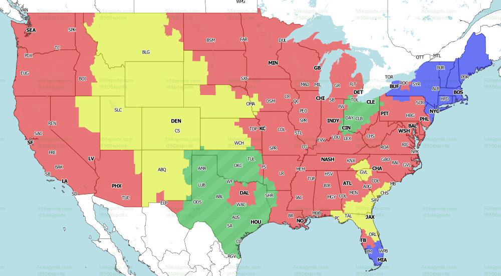 NFL on CBS Early Games 2021 TV Map