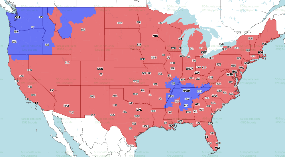 NFL on CBS Late games 2021 TV Map