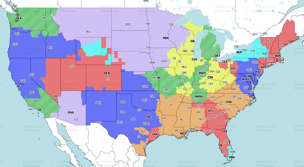 NFL on Fox Singleheader games 2021 TV Map