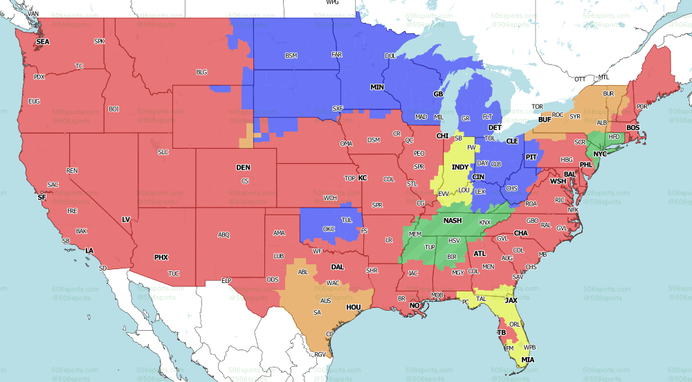 NFL on CBS Early Games TV Map 2021