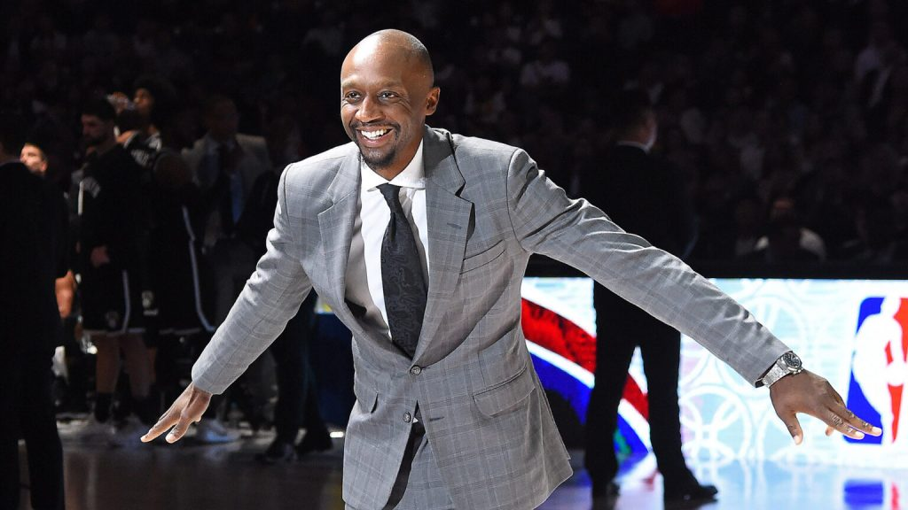 SHANGHAI, CHINA - OCTOBER 10: NBA Legend, Jason Terry smiles on the court during a preseason game as part of 2019 NBA Global Games China between the Los Angeles Lakers and the Brooklyn Nets on October 10, 2019 at Mercedes Benz Arena in Shanghai, China.